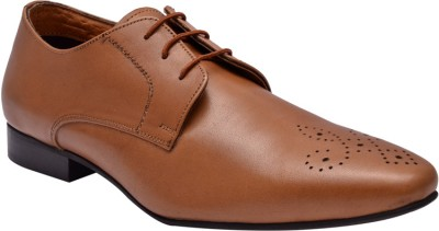 Hirels Mens Tan Leather Derby Lace Up Shoes