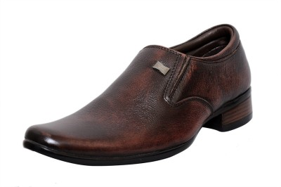 Zoom Zoom Men's Pure Leather Formal Shoes G-1822-Brown-10 Slip On