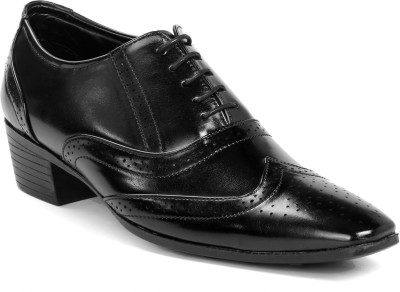 BXXY Height Increasing British Black Brogue Lace Up