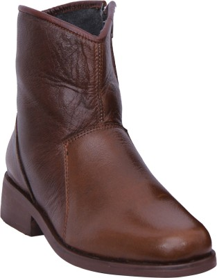 Walkaway Tan Color Lather Casual With Side Zip Boots