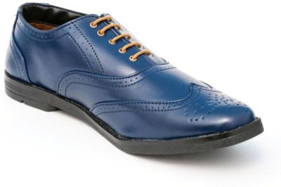 TheWhoop Mens Blue Lace up Shoes Corporate Casuals