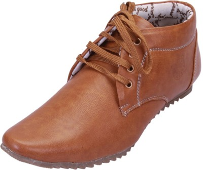 Shoebook Laceup Tan Ankel Length Casual Shoes(Tan)