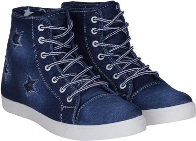 Kraasa Premium Denim Sneakers, Boots(Blue)
