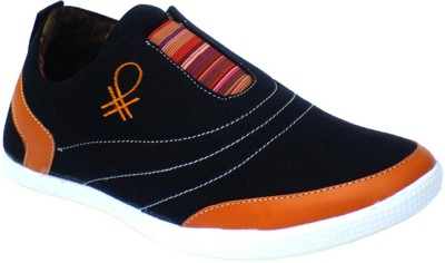 Reveller Black Orange Casual Shoes