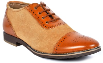 Footlodge stylish Tan Party wear shoes Lace Up