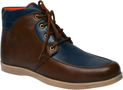 Molessi Stylish Tan & Blue Ankle Boots