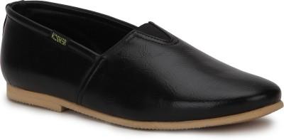 Kosher Kosher Mens KCSC007-BLACK Canvas Slip-on Loafers