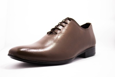 Molessi Molessi Single Piece Genuine Leather Brown Designer Shoes Lace Up Shoes