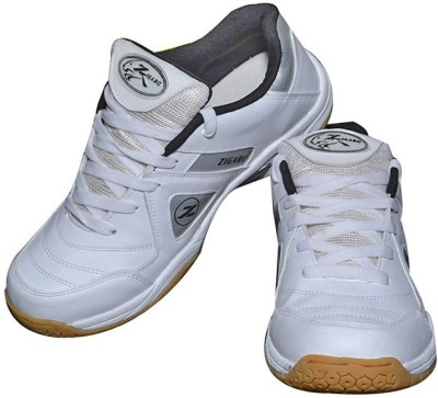 Zigaro Badminton Shoes(White, Silver)