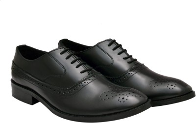 Hirels Black Cap Toe Oxford Brogue Lace Up Lace Up(Black)