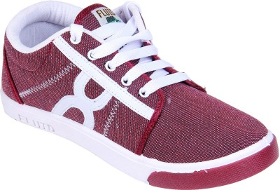 Fluid Maroon Checkered Canvas Shoes