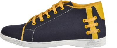 NY Eagle Blue Yellow Ankle Canvas Shoes