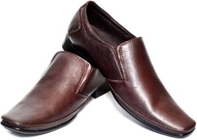 Adler Men,s Brown Genuine Leather Formal Slip On Shoes