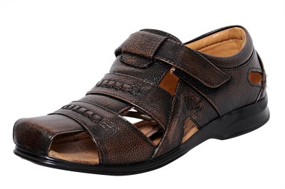 Zoom Zoom Men's Pure Leather Formal Sandal D-1271-Brown-10 Slip On