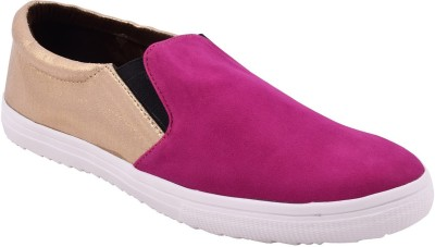 Advin England Pink Golden Slip on style Shoes Sneakers