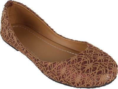 Authentic Vogue Fabric Net Brown Ballerinas Bellies