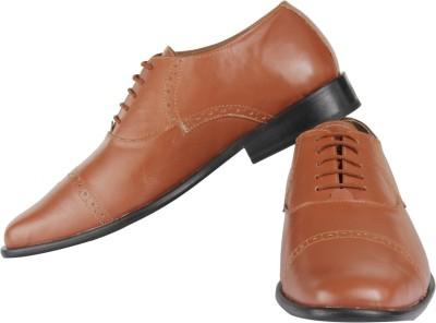 Claude Lorrain Tan Semi Brogue Lace Up Shoes