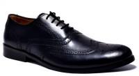 Hirel's Mens Leather Brogues Lace Up Shoes(Black)