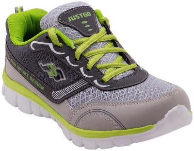 Just Go Men Durable Stylish Grey Green Sport Running Shoes