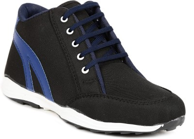 Golden Sparrow Black Blue Ankle Casual Shoes(Black)