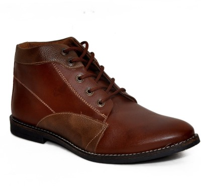 Stylox Brown High Ankle Leather Boots