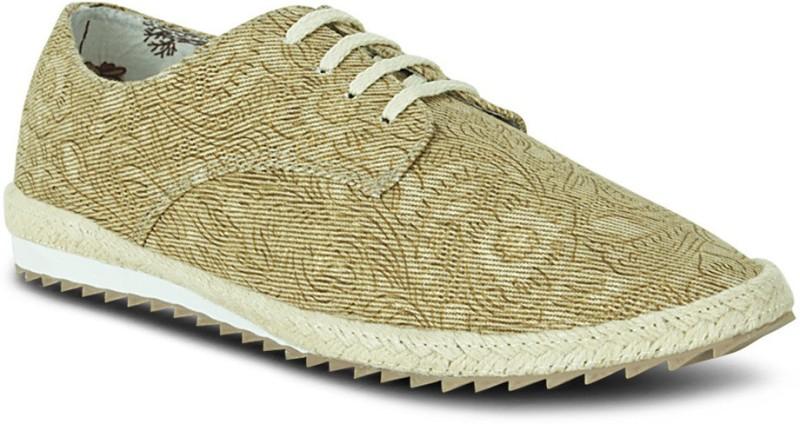Get Glamr Designer Lace Ups Canvas Shoes(Beige)