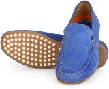 Aditi Wasan Suede Leather Loafers (Blue)