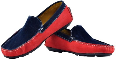 Alpha Man Red and Blue Slip-on s Genuine Leather Loafers
