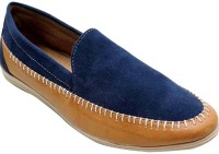 Goyal Navy Suede Leather Loafers(Navy, Tan)