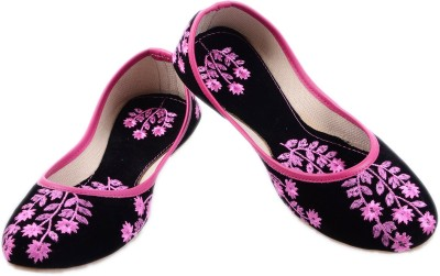 Mochadi Ethnic Party Wear Black Boutique with Floral Pink Embroidery Bellies