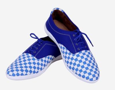 Goyal Blue White Check Canvas Shoes