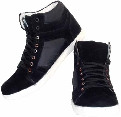 Leather Like Black Sneakers