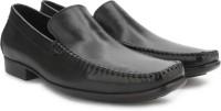 Ruosh Men Genuine Leather Slip On Shoes(Black)