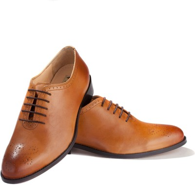 Walker Styleways Elite Tan Leather Brogue Lace Up Shoes