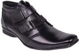 Leather Wood Monk Strap Shoes (Black)