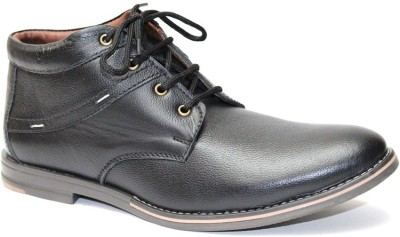 Molessi Black High Ankle Geniune Leather Lace Up Shoes