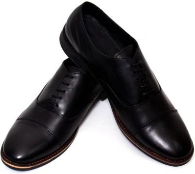 Adler Black Genuine Leather Stylish Lace Up