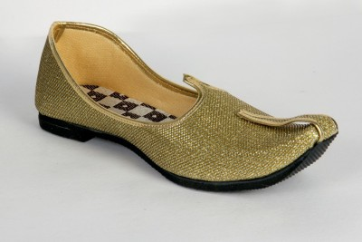 Panahi Gold Colour Fabric Men Ethnic Wear Slip On Jutis Party Wear