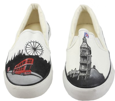 LazyBrats London City Hand Painted Customised Casual Slipon Shoes Canvas Shoes