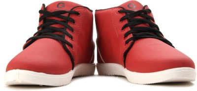 Globalite Classic Men High Ankle Sneakers(Red)
