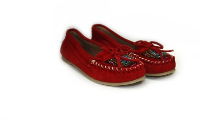 Shimmer Shoes Leather Beaded Loafers