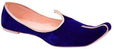 Retailxpert Blue Velvet With Golden Border Punjabi Jutis