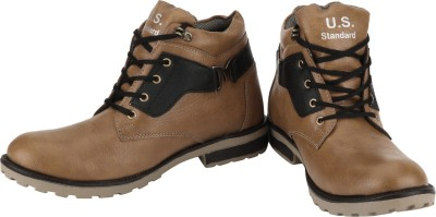 US Standard Beige & Black Boot Casual Shoes