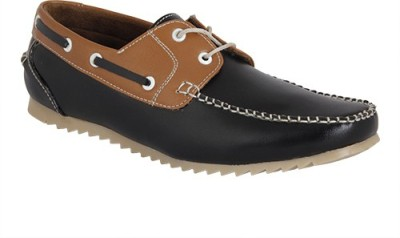 Gato Stylish Black n Tan Loafers