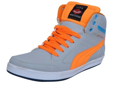 West Code Men's Synthetic Leather Casual Shoes 903-Grey-Orange-6 Casuals