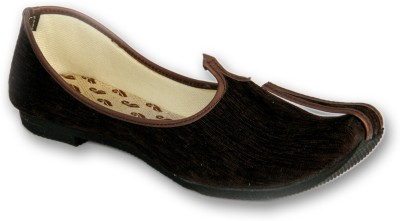 Panahi Brown Colour Fabric Men Ethnic Wear Slip On Jutis Party Wear