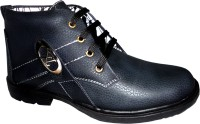 Hinacshi Black Faux Leather Boots best price on Flipkart @ Rs. 849