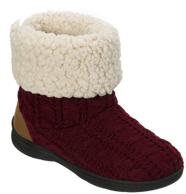 Dearfoams Dearfoams Cuffed Knit Boot Slipper with Heel Patch Red Boots(Red)