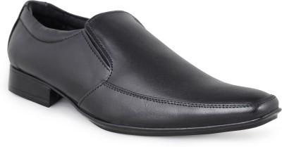 Shumael Black Leather Slip On Shoes