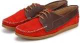 Arden Quoddy Derby Loafers (Red, Tan)